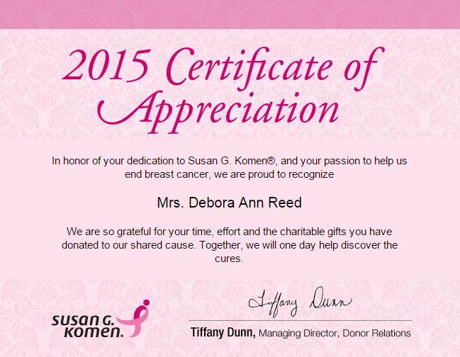 Susan g komen certificate of appreciation the debbie reed team of appreciation for our outstanding support susan g komen certificate yelopaper Images